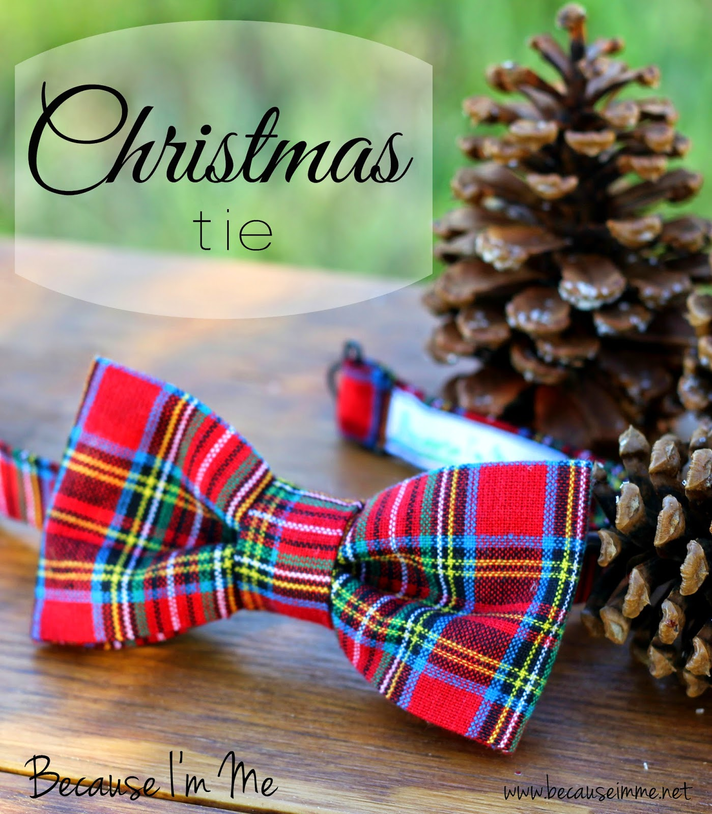 Red Christmas Plaid Bow Tie