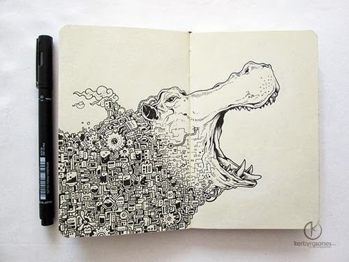 08-River Horse-Filippino-Artist-and-Illustrator-Kerby-Rosanes-Pen-Doodles-www-designstack-co