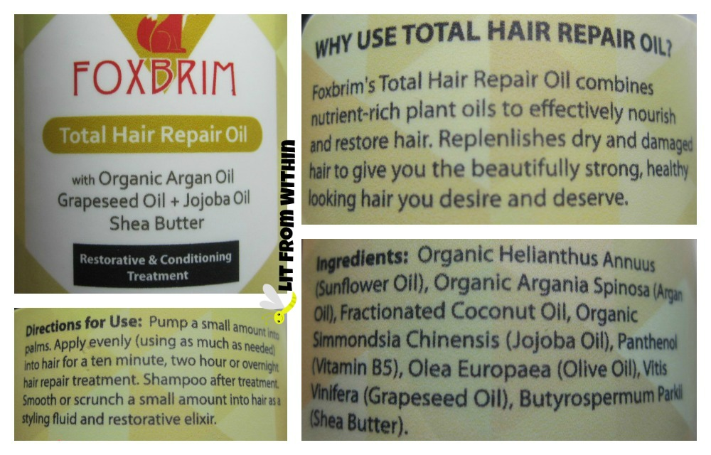 Foxbrim Total Hair Repair Oil directions and ingredients