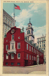 Old State House, Boston, Massachusetts, postcard, lion, unicorn, time capsule