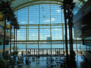 Inside the Renaissance Center atrium in downtown Detroit, Michigan