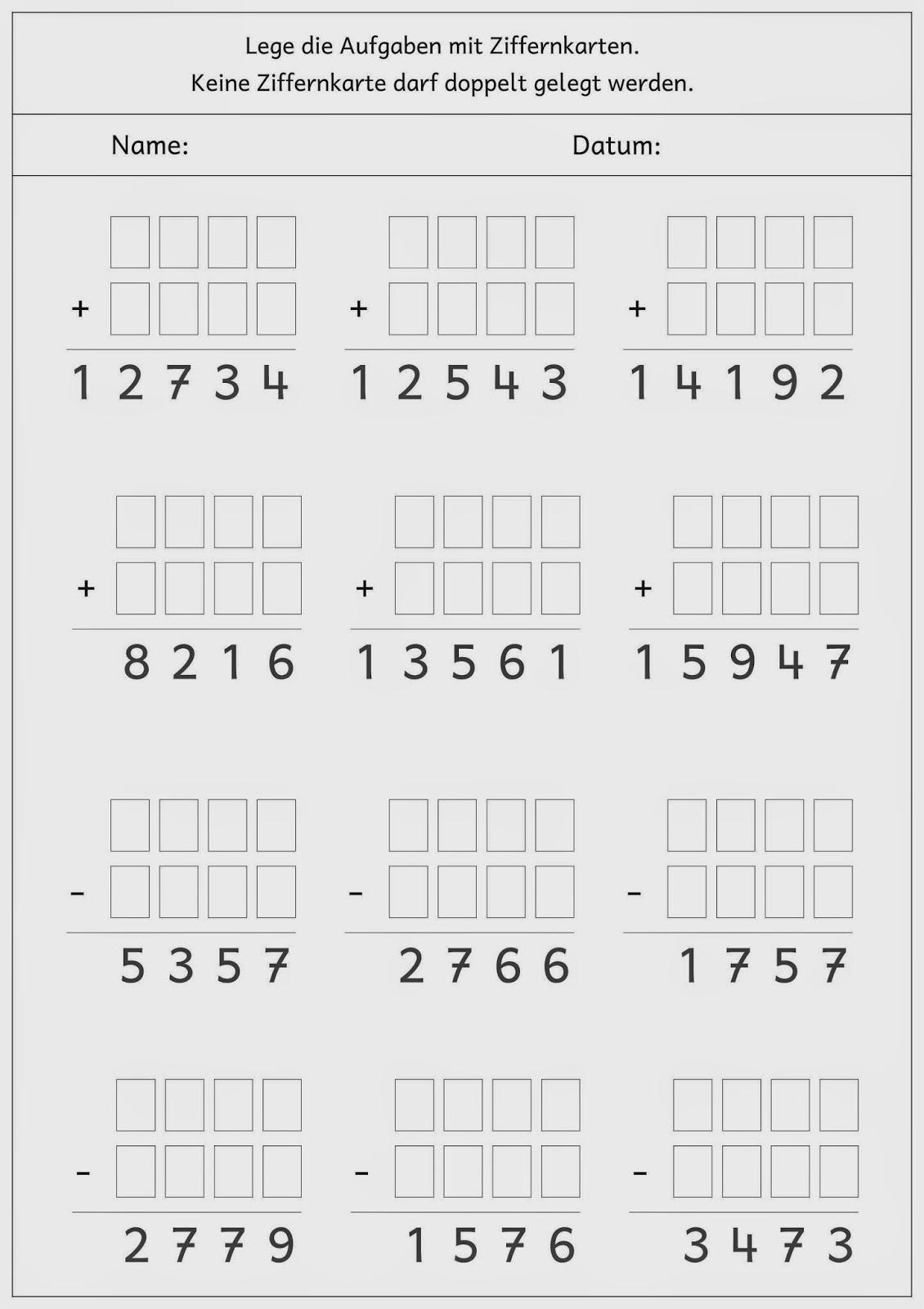 Lernstu00fcbchen: schriftlich addieren und subtrahieren mit Ziffernkarten