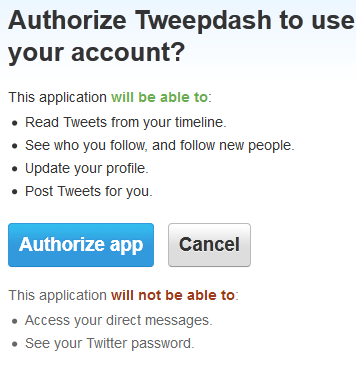 Tweepdash Authentication