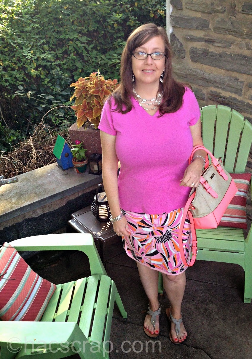 Mid-Life Mom Style - Pink Print Skirt and T-shirt