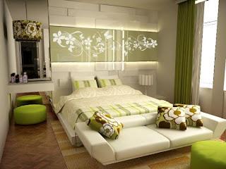 habitación marrón y verde