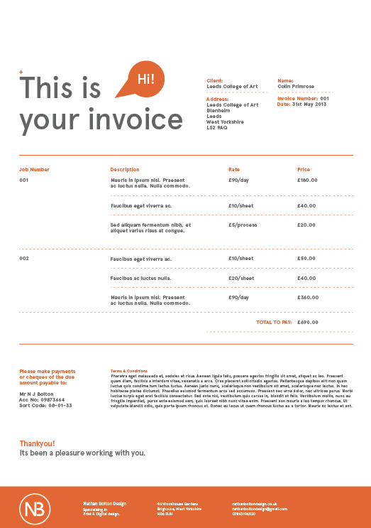 Ups Commerical Invoice Excel Ppp Ougd  Personal Branding  Invoice App For Scanning Receipts with Invoice Pricing On New Cars After Doing The Different Alterations That I Spoke About Above This Is The  Final Invoice Sheet Here You Can Still See That The Design Is Very In  Keeping  Purchase Order Receipt Excel