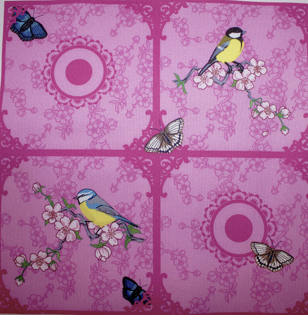 designer fabric, costume textile, birds, blossoms, spring