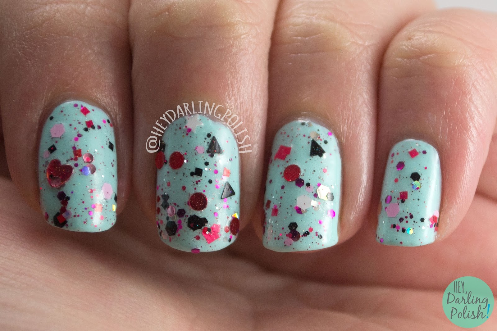 glitter, valentines, valentines day, shot through the heart, nails, nail polish, indie polish, indie nail polish, hey darling polish, ice polish, swatches