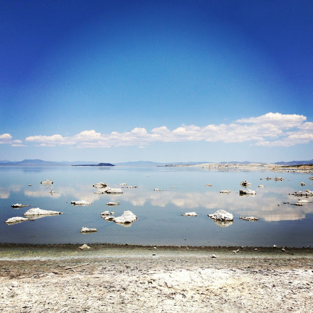 mono lake, mono lake california, mono lake photos, seagull island, seagulls, clouds reflecting on water, lakeside