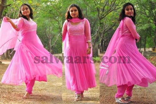 Anarkali Salwar in Baby Pink