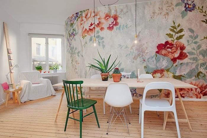 Icono interiorismo llega la primavera decora tus paredes - Salones con papel pintado ...