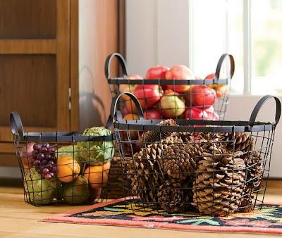 Fall Decor, Autumn Decor, Decorative Baskets, Wire Baskets, Apple baskets