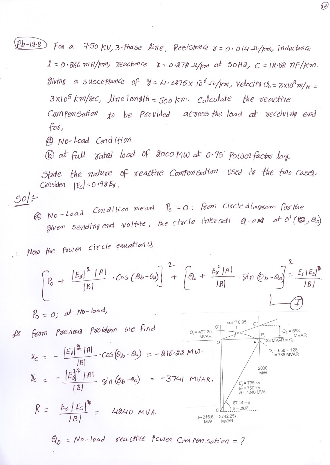 PROBLEMS ON POWER CIRCLE DIAGRAM AT RECEIVING END OF A ...