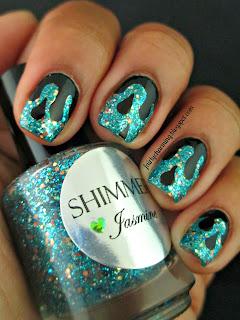 Shimmer Polish, Jasmine, glitter, glitter bomb, swatch, Princess Jasmine, drip, melt, merge, teal, aquamarine, nails, nail art, nail design, mani