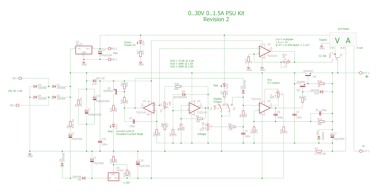Pauls Diy Electronics Blog Tuning A 030v Dc 03a Psu Kit 12v To 9v 2a Step Down Converter Using Ic 741 And 2n3055 Here Is The Original Parts List As Supplied With But My Changes Additions Listed Well