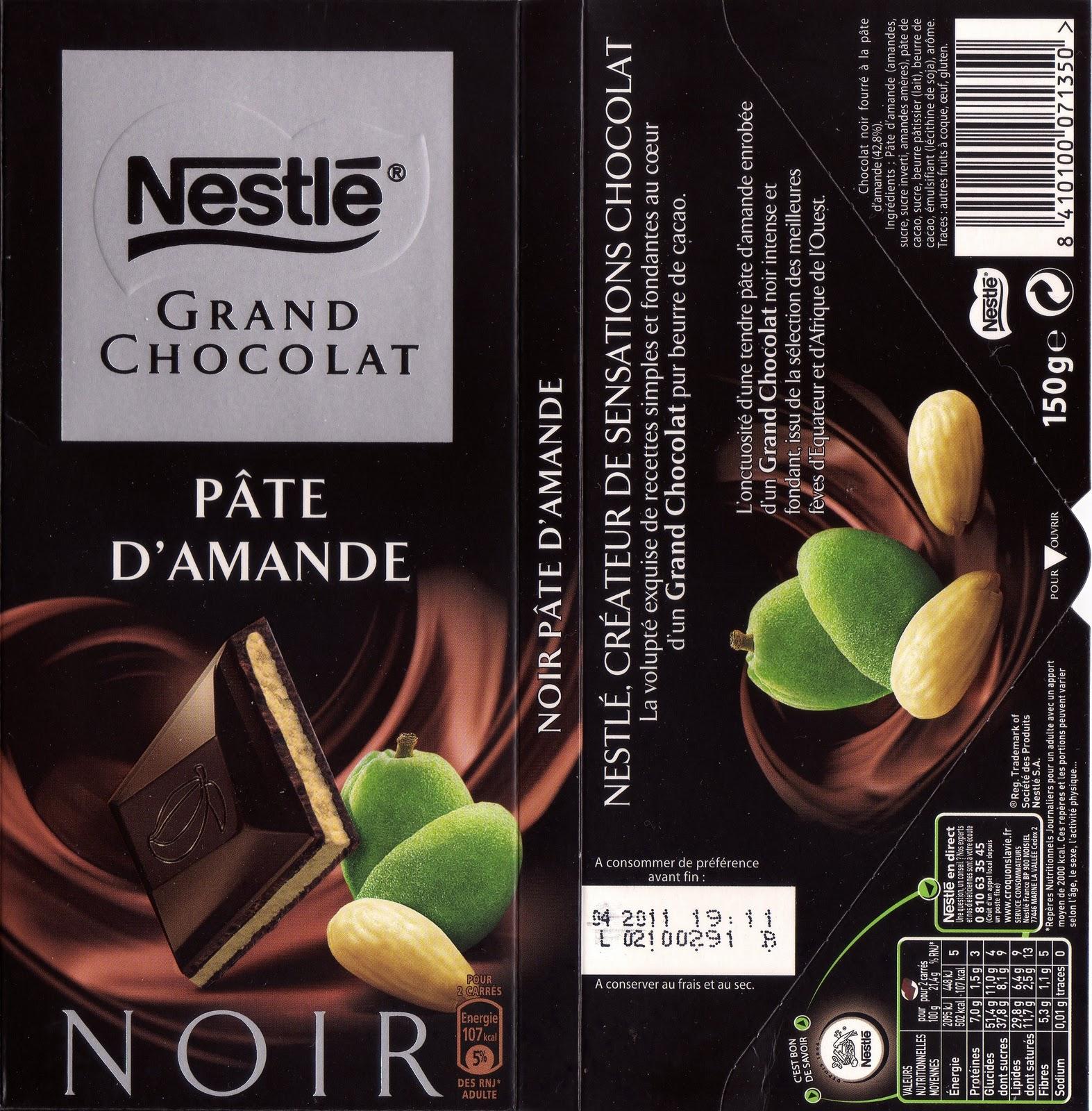 nestl 233 grand chocolat p 226 te d amande tablette de choc