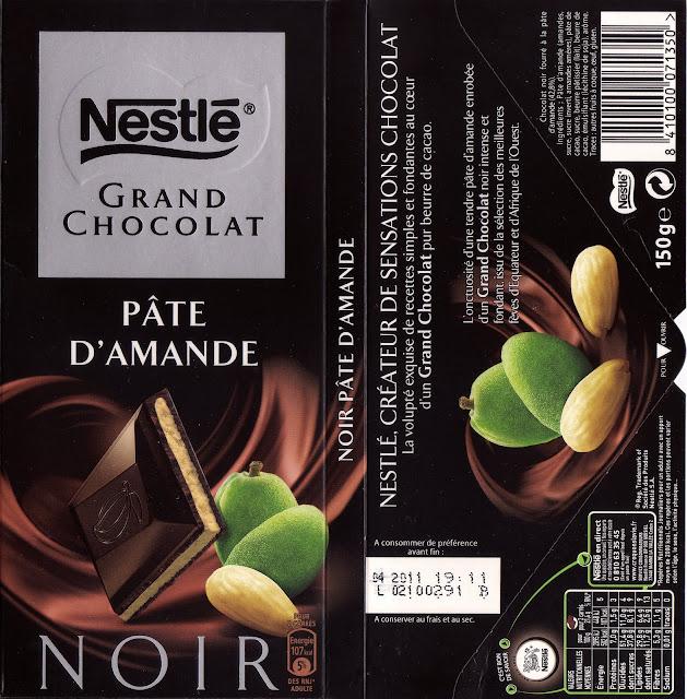 tablette de chocolat noir fourré nestlé grand chocolat pâte d'amande
