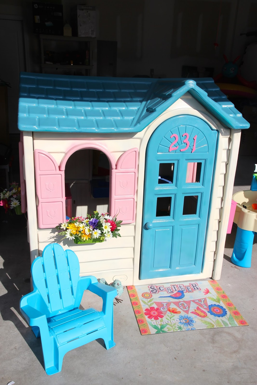 Cosy Little Tikes Home Garden Playhouse. It was a well loved  outdoor playhouse one of my neighbors sold me for 35 in good structural condition and just showed signs being enjoyed 2 Pugs Little Lady Tikes Playhouse Makeover
