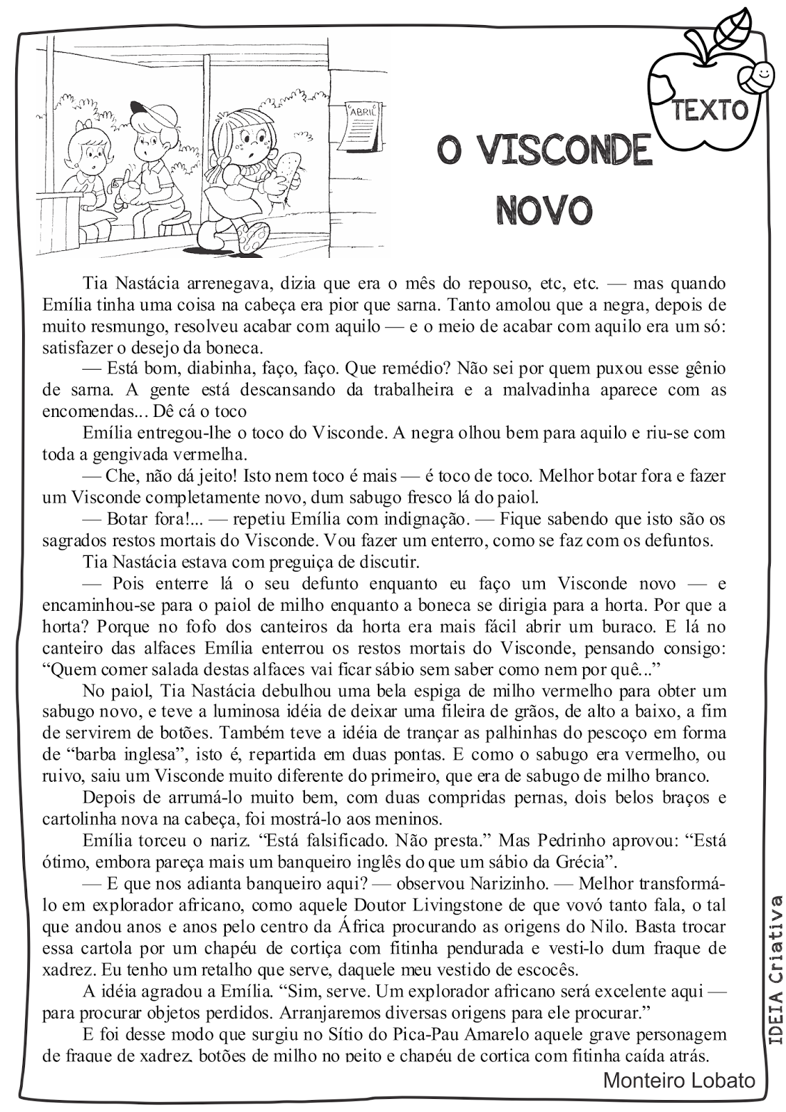 Sequência Didática Sítio do Pica Pau Amarelo Texto Base O Visconde Novo Livro Viagem ao Céu Monteiro Lobato