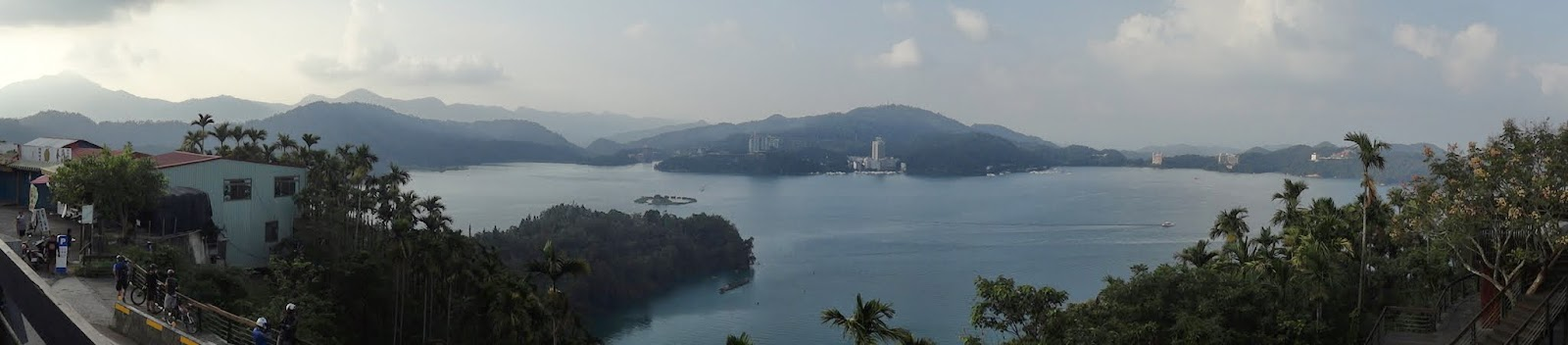 Breathtaking panorama viewe of Sun Moon Lake and Lalu Island from Xuanzang Temple at Nantou County of Taiwan