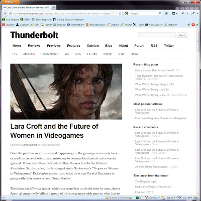 Screen shot of http://www.thunderboltgames.com/opinion/article/lara-croft-and-the-future-of-women-in-videogames-opinion-for-all-none.html.