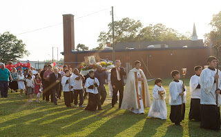 walking in procession for Our Lady