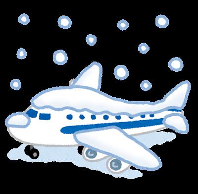 雪で欠航する飛行機のイラスト