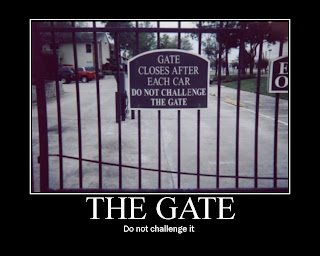 gate closes after each car do not chalenge the gate