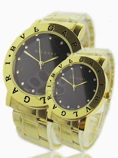 Jam Tangan Couple - Bvlgari Class Couple Rantai (Gold Black)