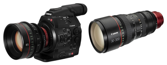 One of Canon's new EF Cinema Zoom PL-mount lenses,CN-E30-300mm T2.95-3.7 L SP, The EOS C300 will accept a variety of lenses, including Canon's upcoming 85mm Prime