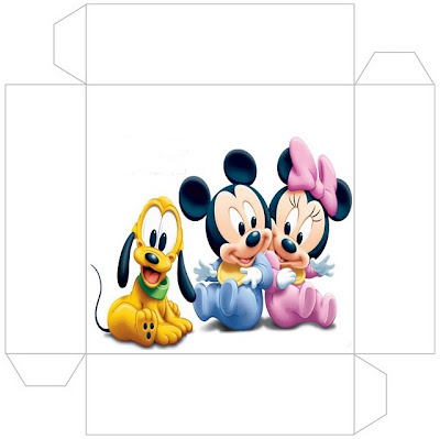 Cajita - invitación de Minnie y Mickey Bebés.