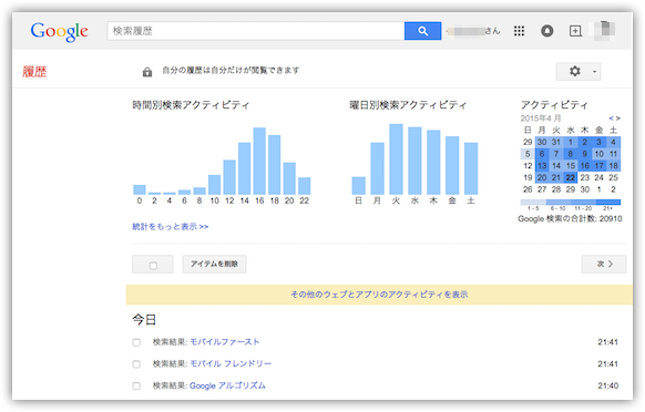 Googleの「履歴」