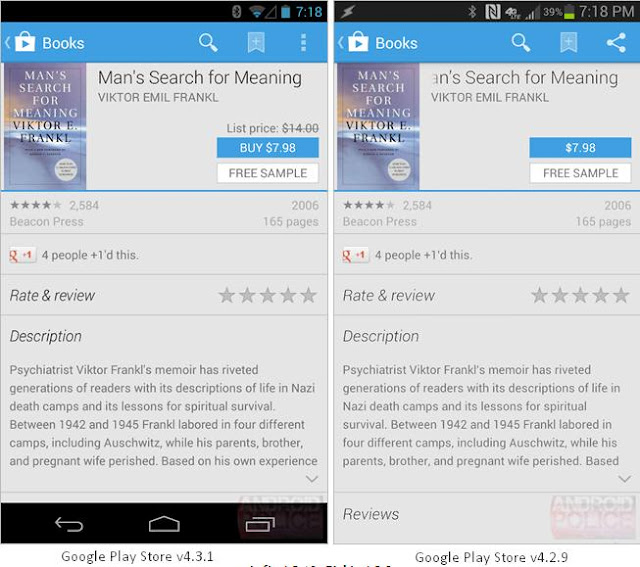 Google Play Store v4.3.1 Changes