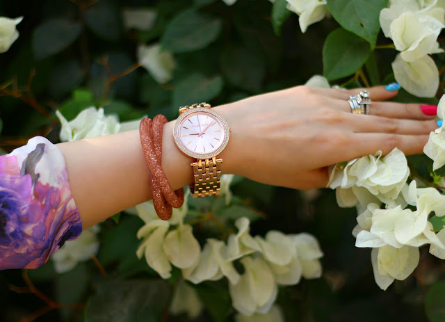 Swarovski Stardust bracelet, Michael Kors watch