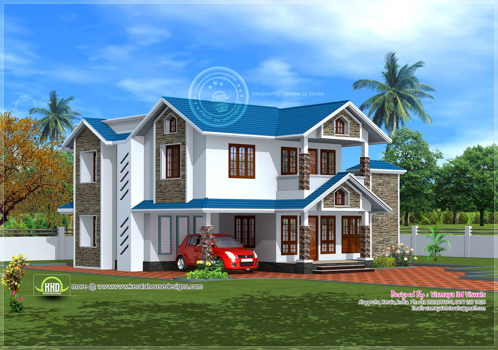 Vismaya 3d visuals house plan joy studio design gallery for Beautiful home exteriors