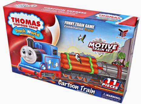 kado ulang tahun untuk si kecil berupa mainan kereta dengan motif Thomas.