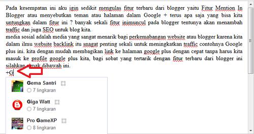 Fitur Terbaru Google plus Mentions in Blogger