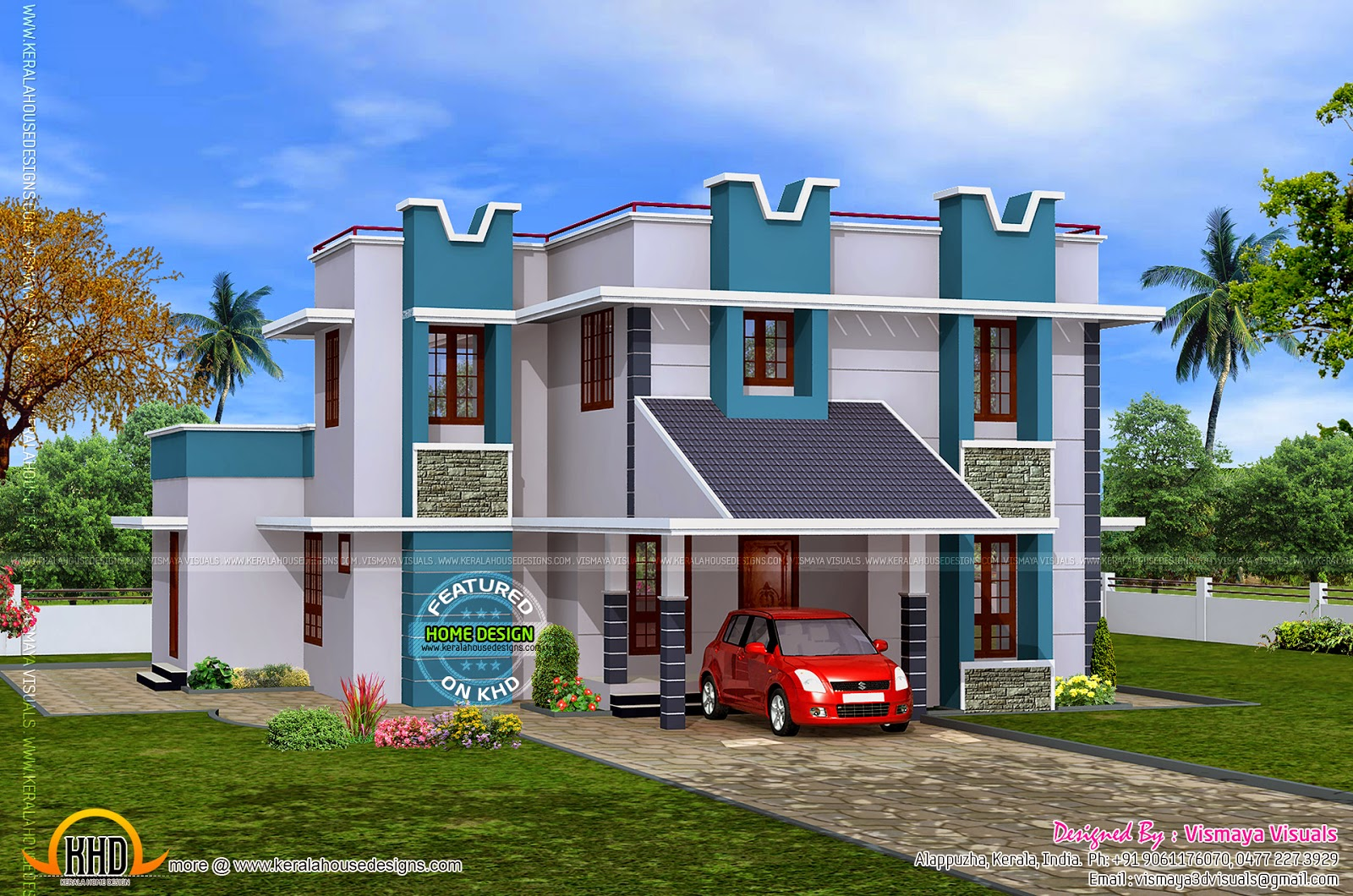 1926 sq feet clean house design kerala home design and for Normal house design in indian