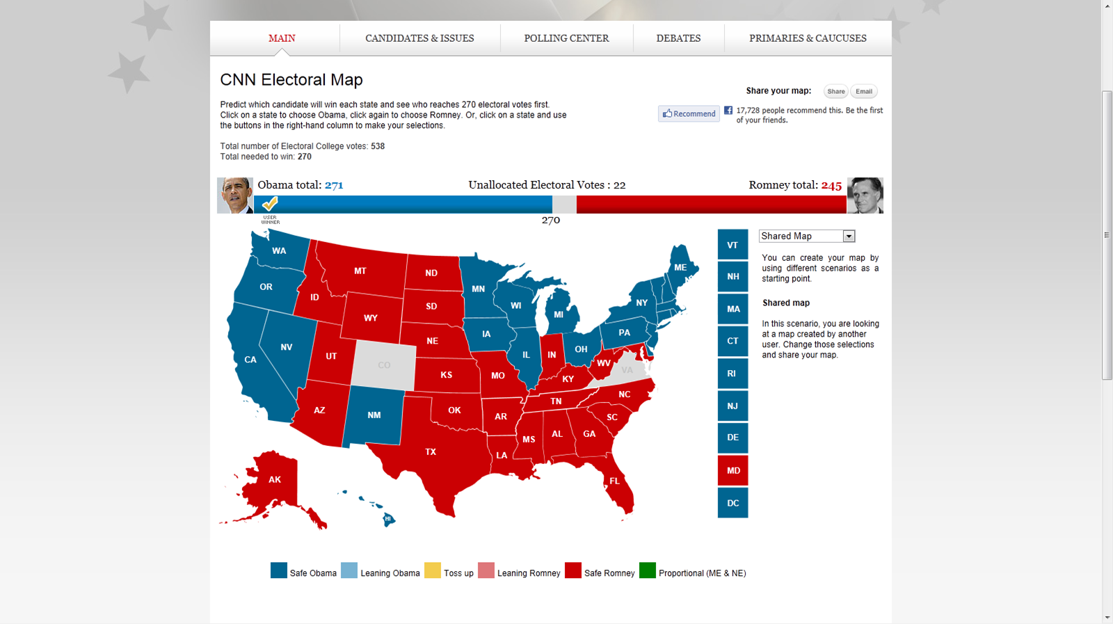 this map shows an electoral college win for obama at 271 votes a result as tight as you can imagine
