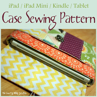 iPad mini sleeve case clutch sewing pattern - pocket - PDF