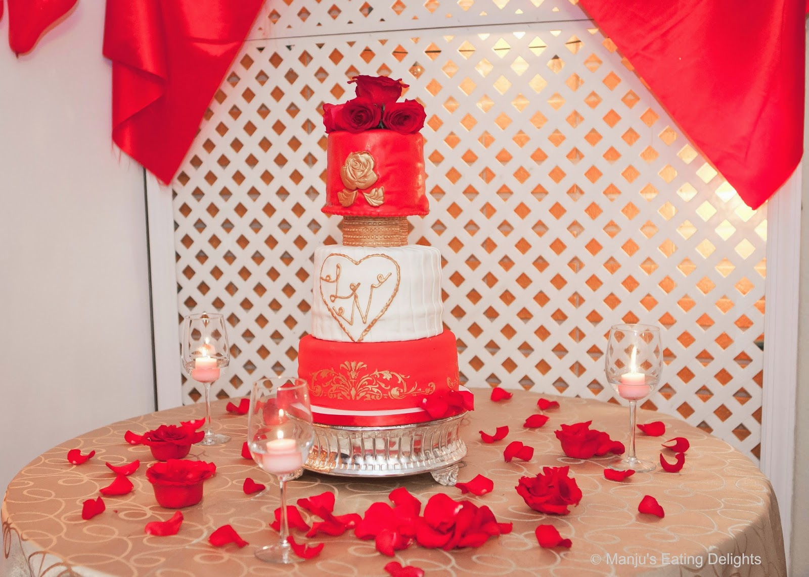 Manju\'s Eating Delights: Red, Gold and White Wedding Cake