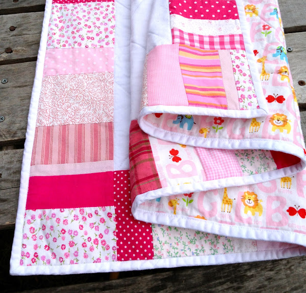 Made with all pink fabrics around the border: