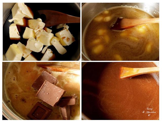 Derritiendo la mantequilla y el chocolate