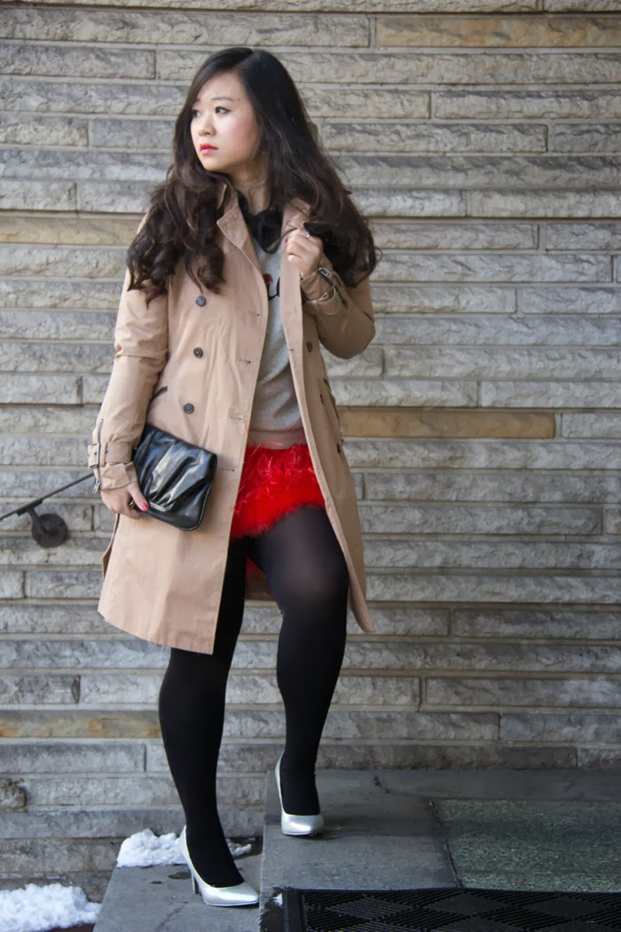 Trench-Coat, Red-Feather-Skirt, Grey-Pullover, Black-Clutch, Silver-Pumps