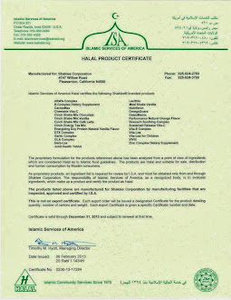 Halal Certificate for Shaklee Products by the Islamic Services of America