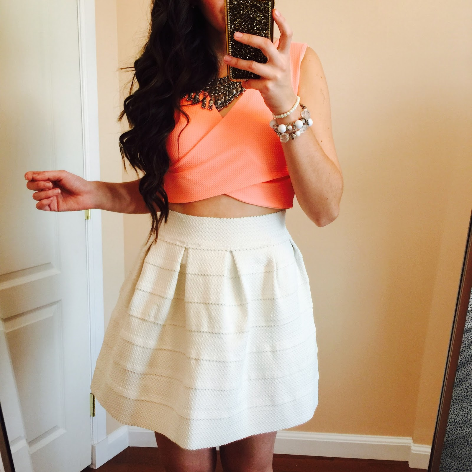 lane201 peach crop top, lane201 boutique, lane 201 peach crop top, zig zag crop top, white bandaged skirt, bandaged skirt,
