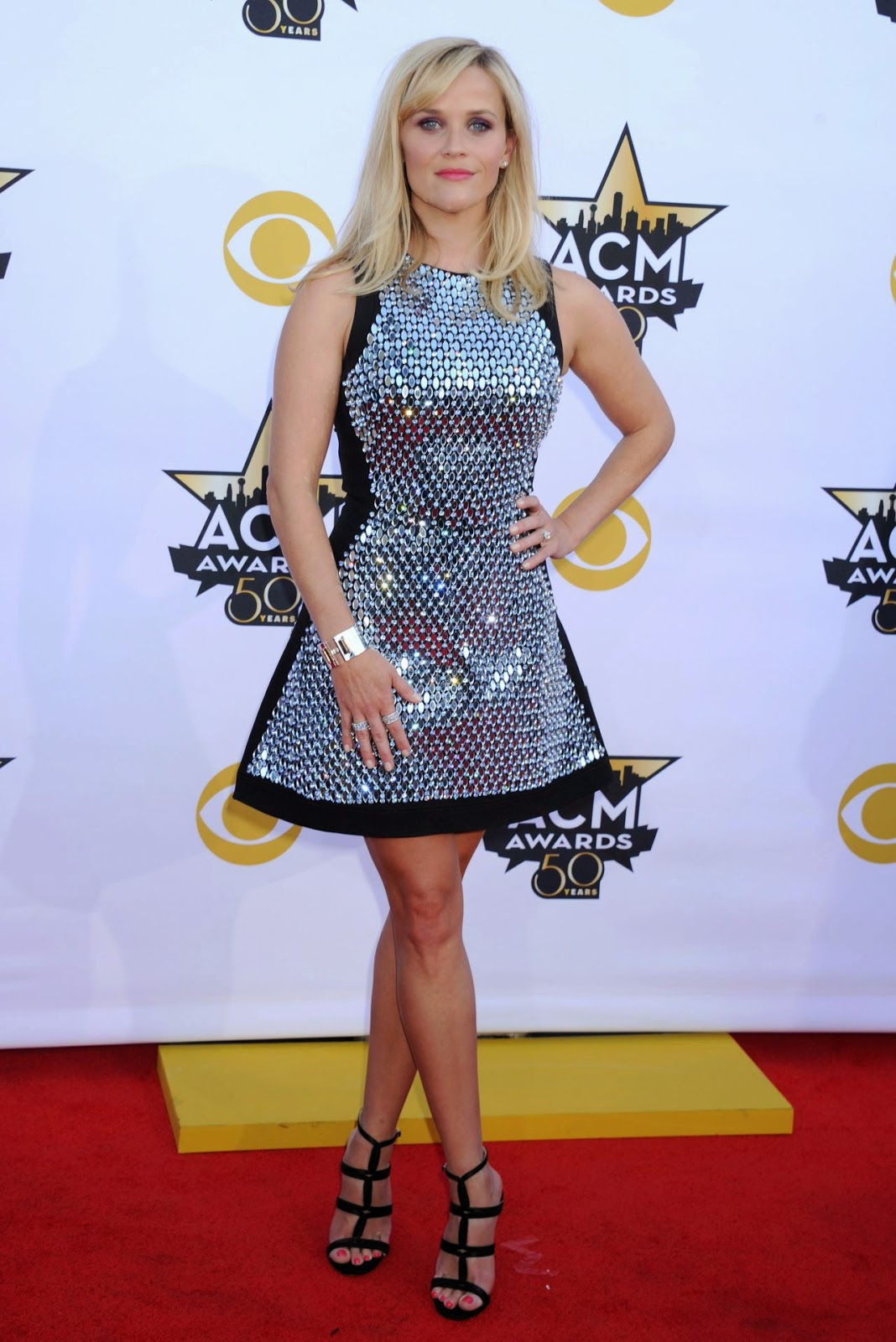Reese Witherspoon wears a David Koma mini dress to the 2015 ACM Awards