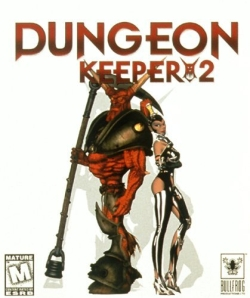 an art cover for the title of Dungeon keeper 2, featuring the mistress and Horny, the horned reaper