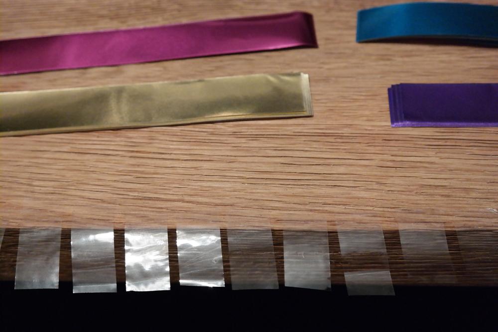 Sellotape stuck along edge of table