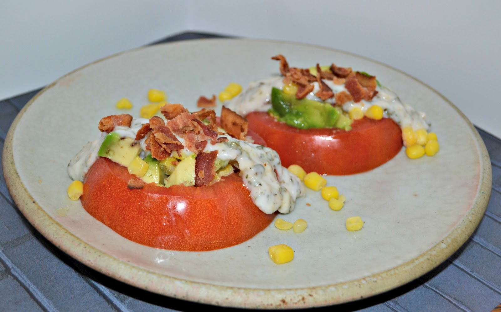 Tomato Stack Salad With Corn, Bacon, And Avocado Recipes — Dishmaps